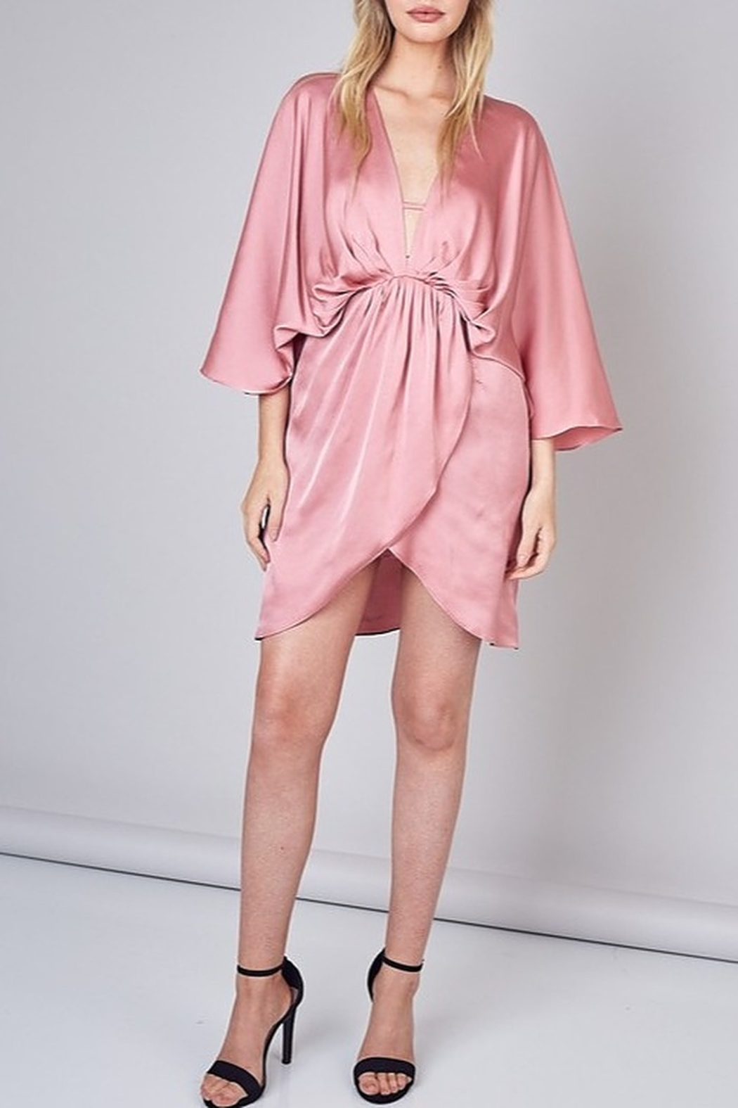 Do & Be Satin Kimono Dress - Back Cropped Image