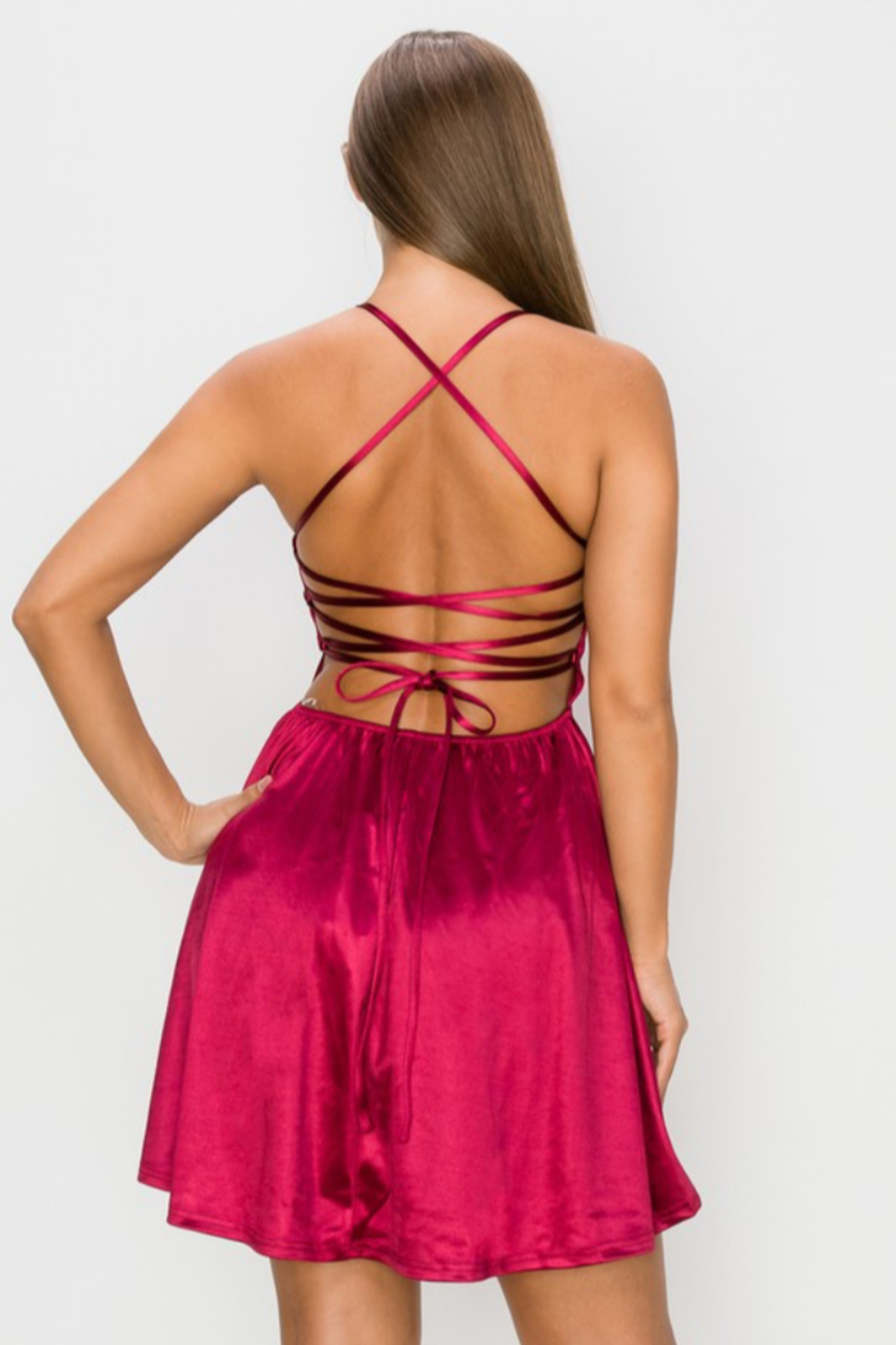 privy Satin Lace Up Mini - Front Full Image