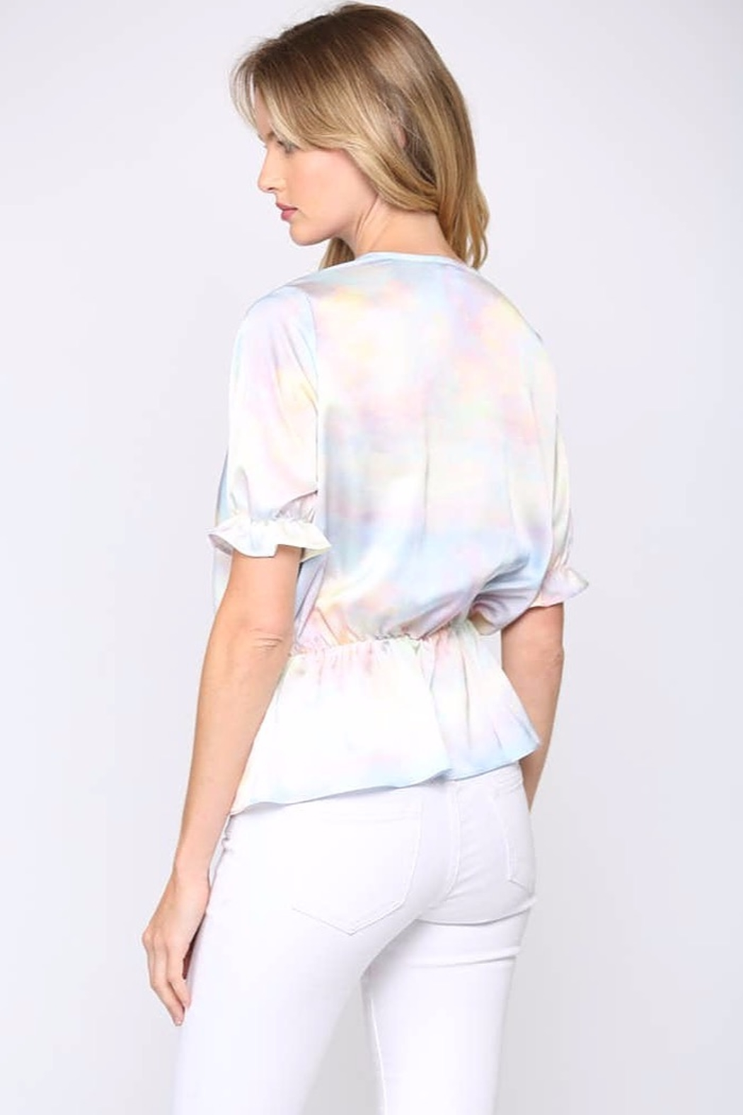 Fate  Satin-Layered Tie-Dye Blouse - Side Cropped Image