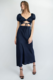 EDIT BY NINE Satin Long Dress With Cut Outs - Product Mini Image