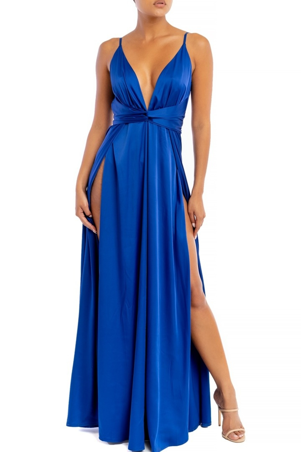luxxel Satin Maxi Dress - Front Cropped Image