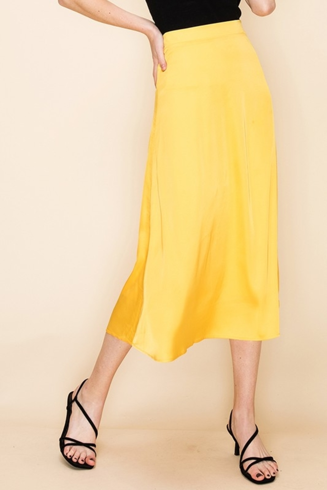 Double Zero Satin Midi Skirt - Main Image