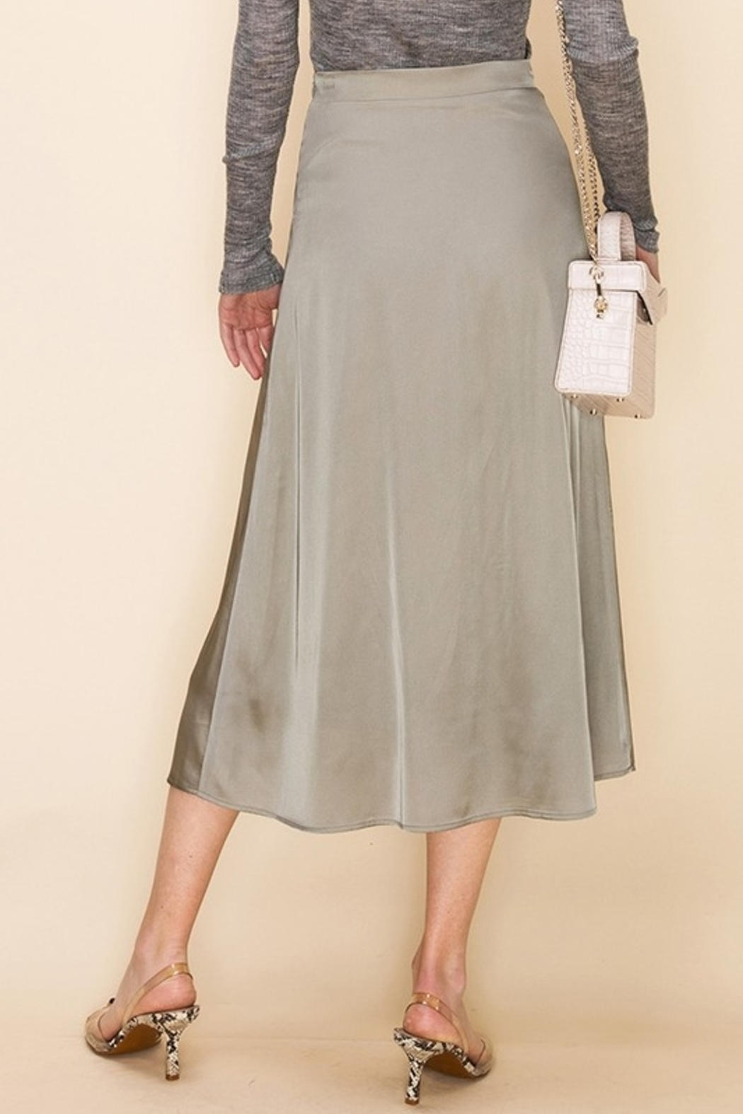 Double Zero Satin Midi Skirt - Front Full Image
