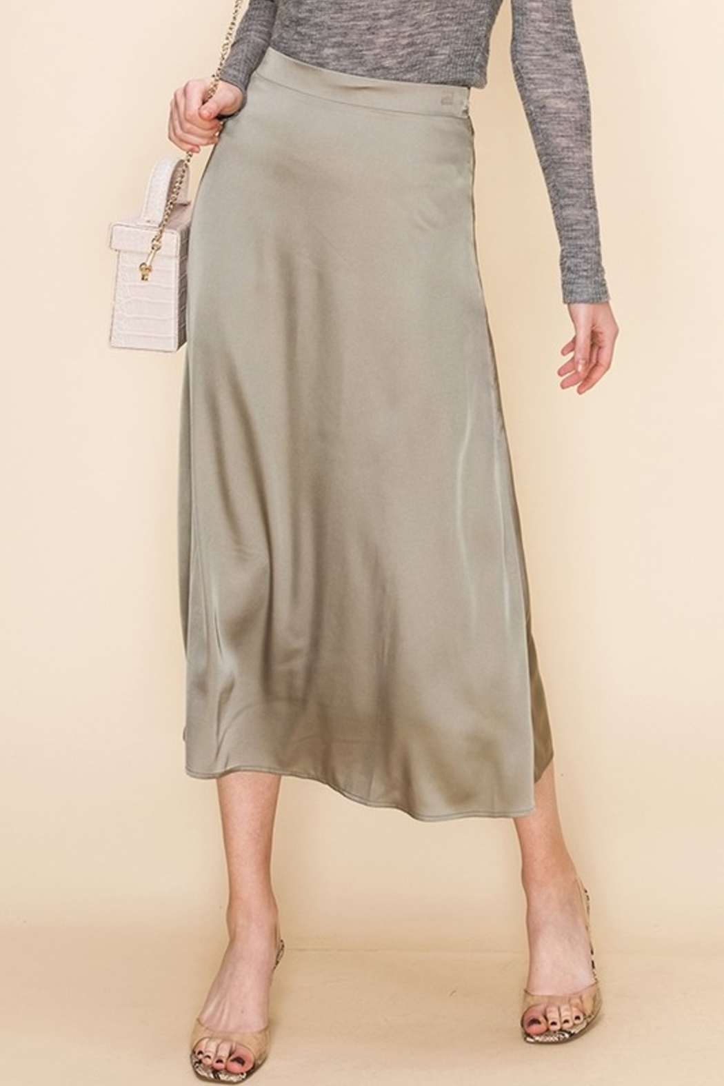 Double Zero Satin Midi Skirt - Front Cropped Image