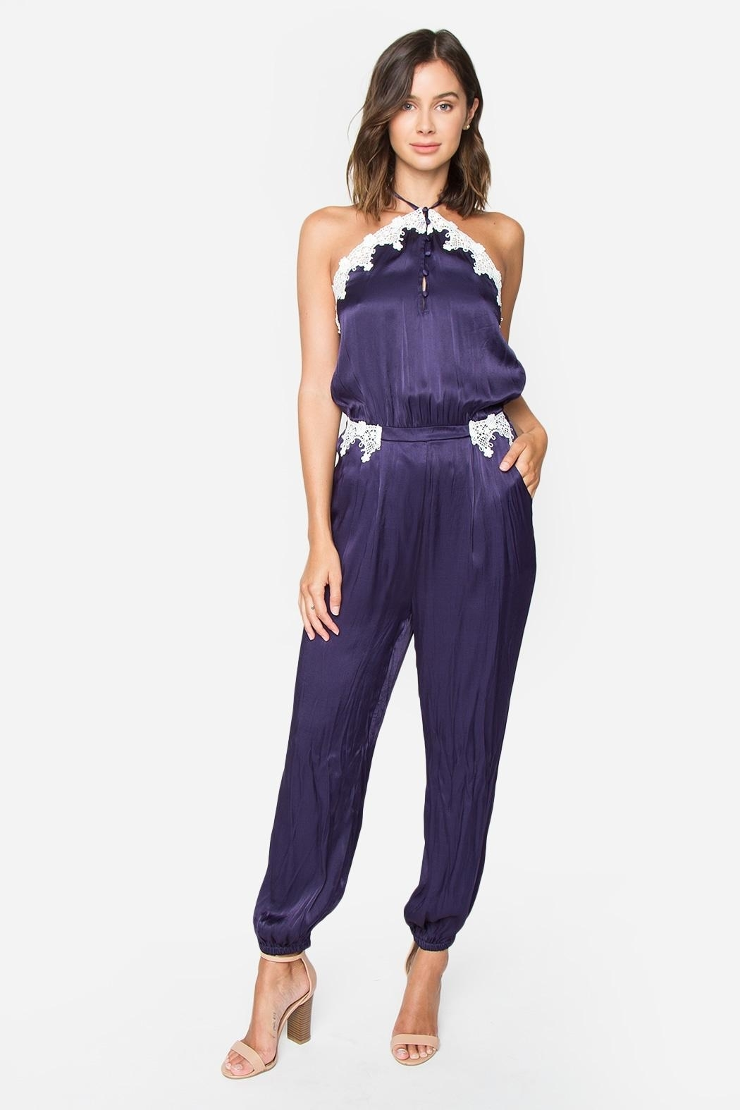 Sugarlips Satin-n-Lace Jumpsuit - Side Cropped Image