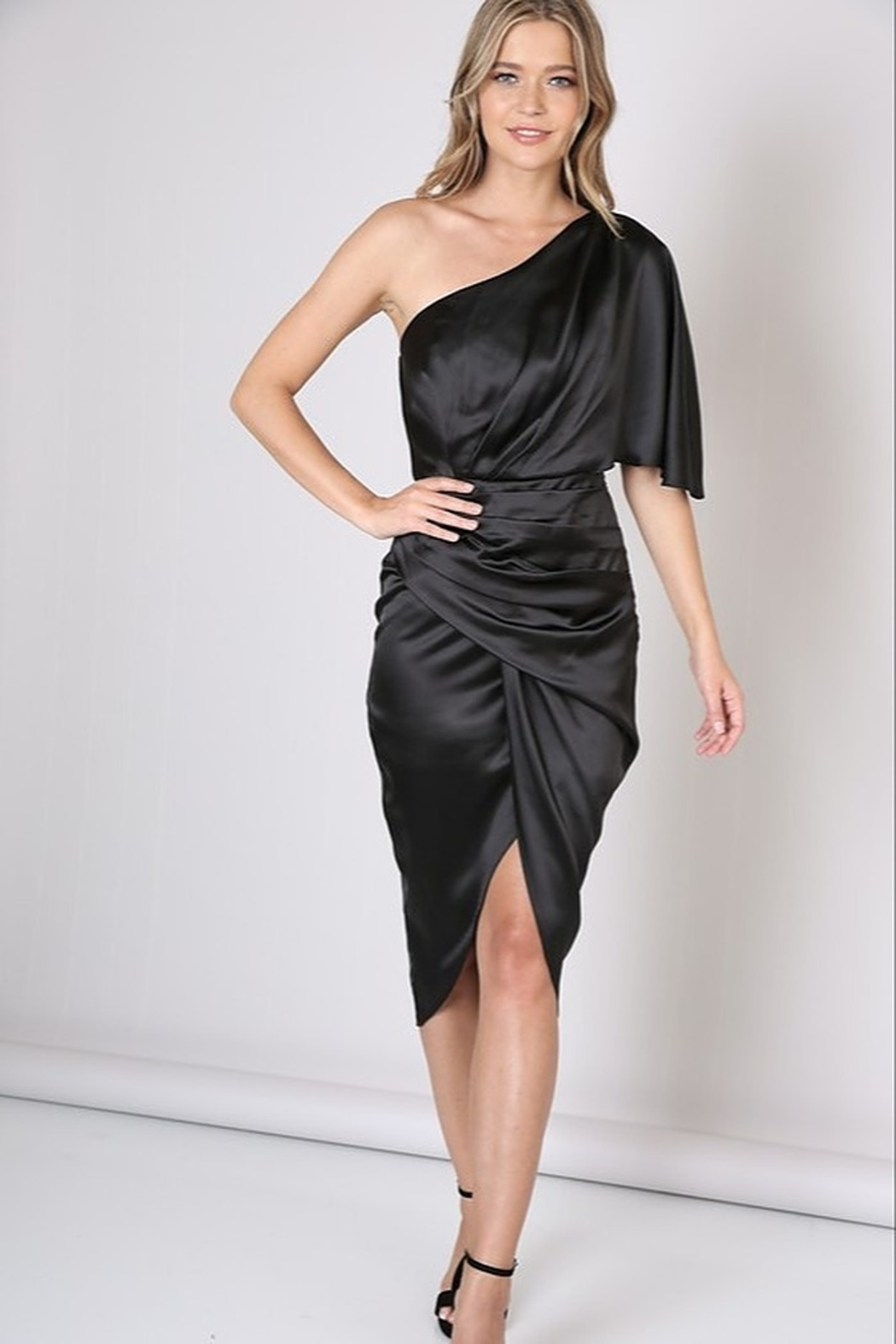Do & Be Satin One Shoulder Dress - Front Cropped Image