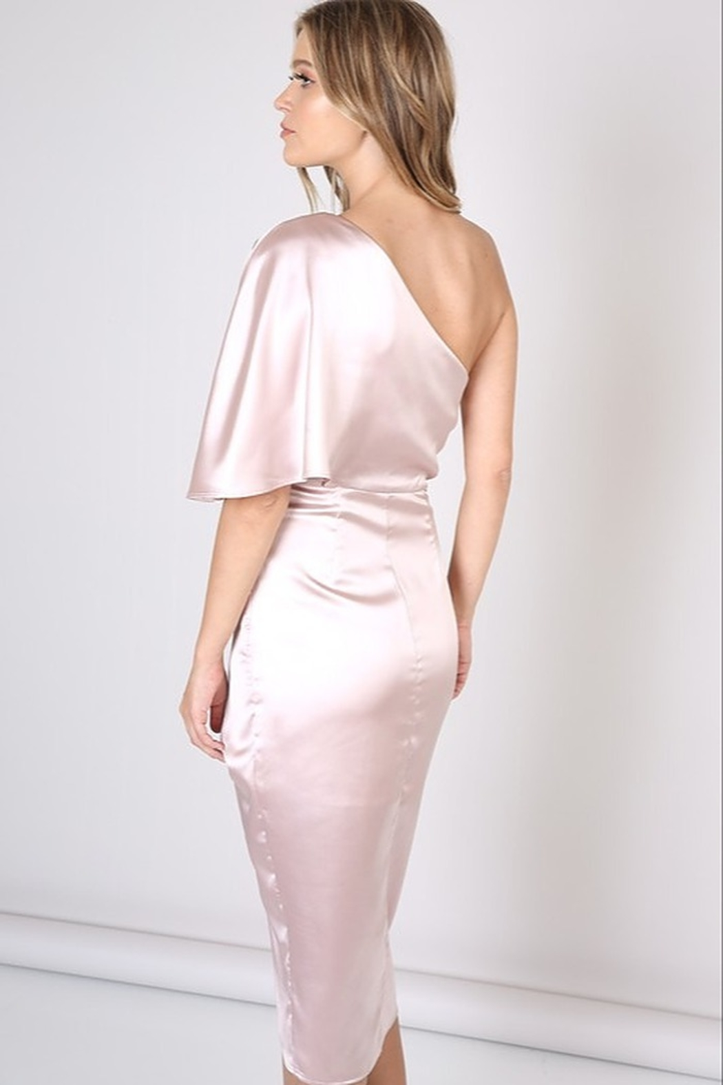 Do & Be Satin One Shoulder Dress - Front Full Image