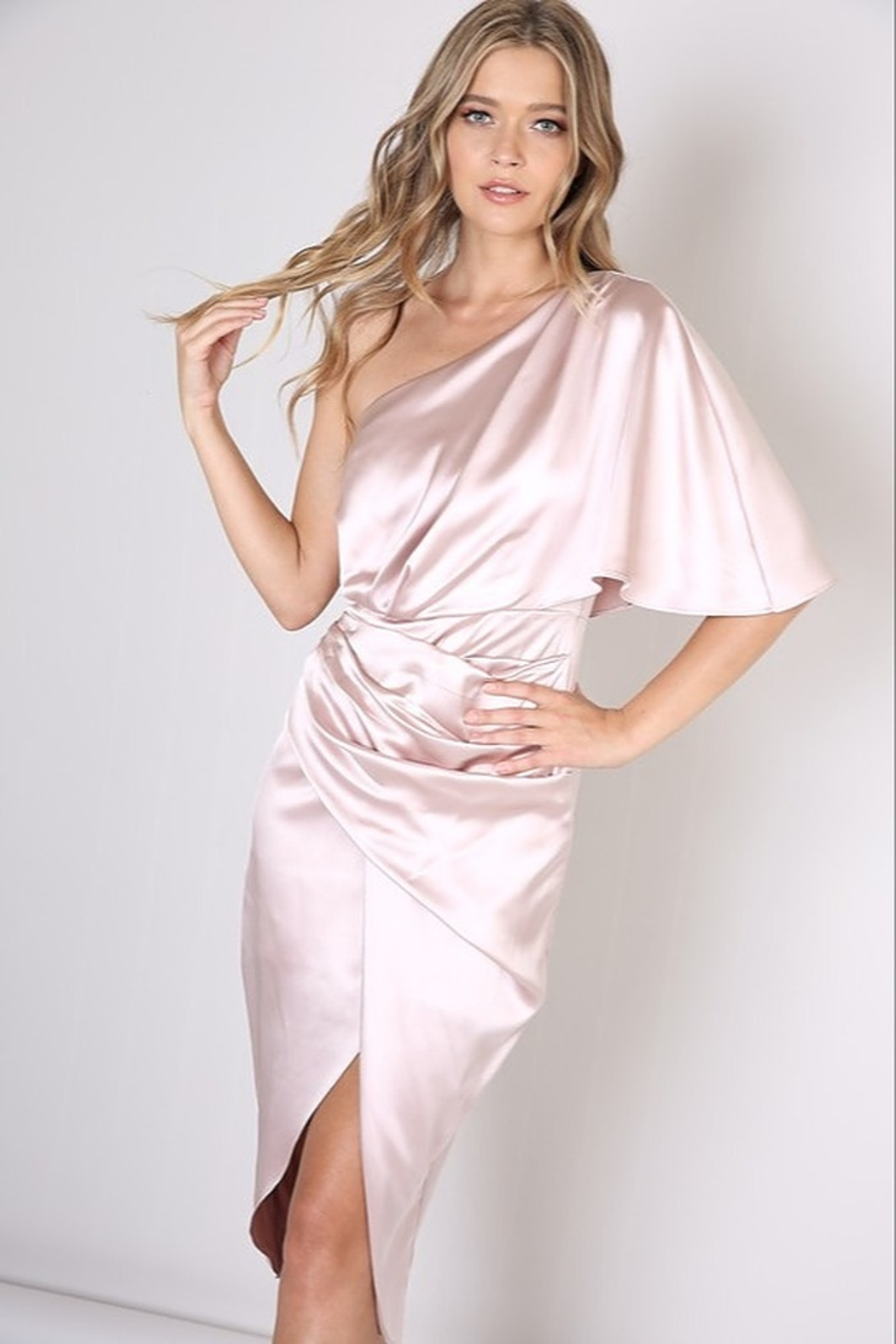 Do & Be Satin One Shoulder Dress - Side Cropped Image