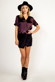 Olivaceous  Satin Open Neck Top - Product Mini Image