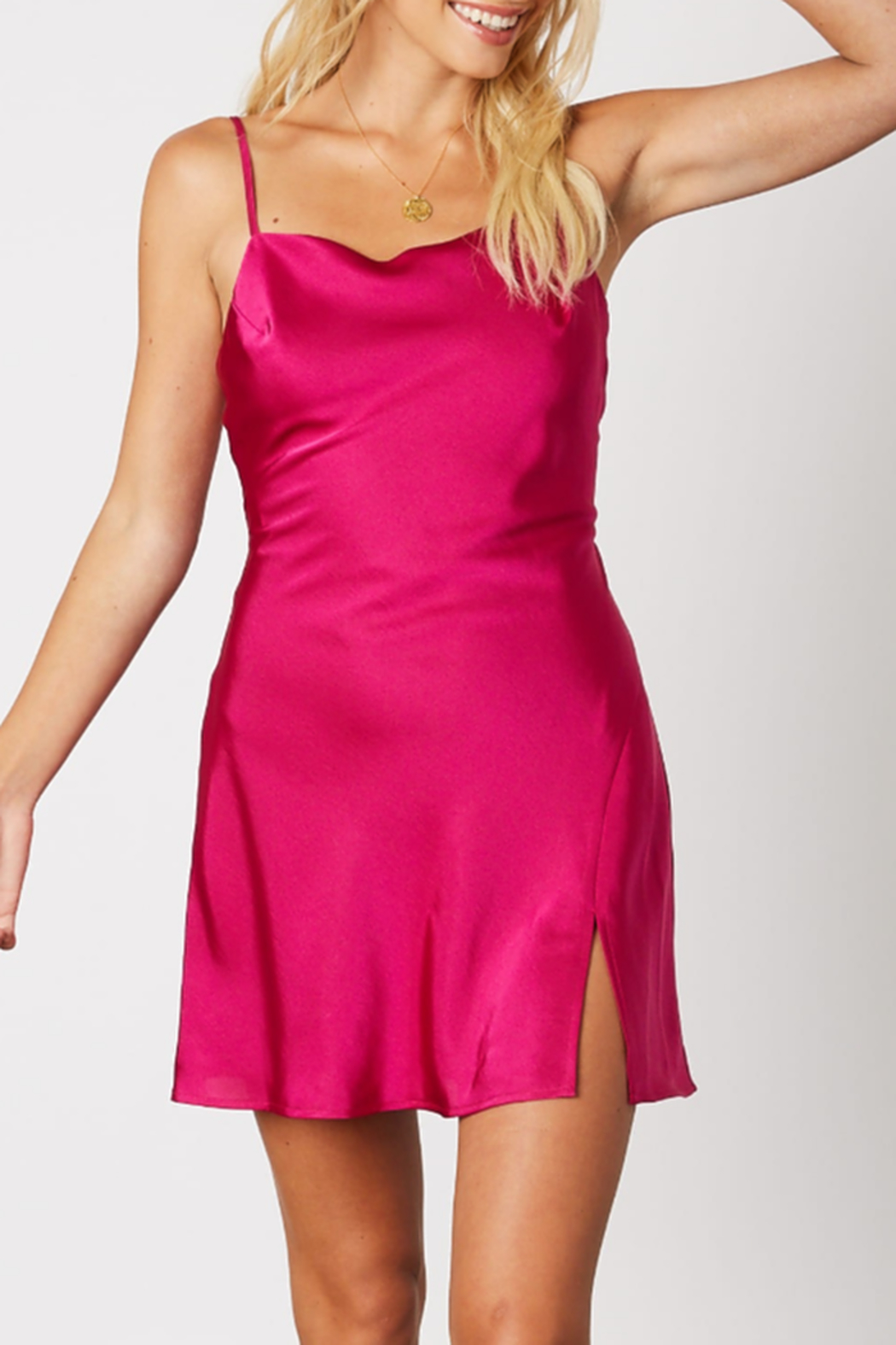 Cotton Candy Satin Party Dress - Main Image