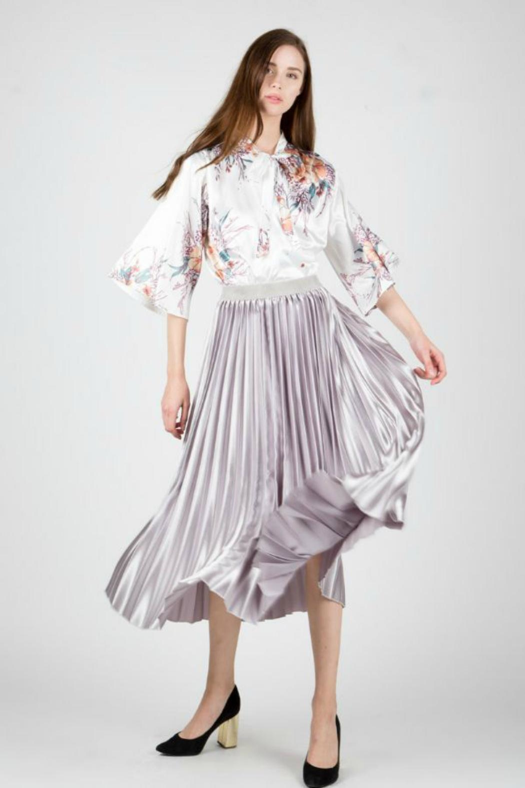 BEULAH STYLE Satin Pleated Skirt - Main Image