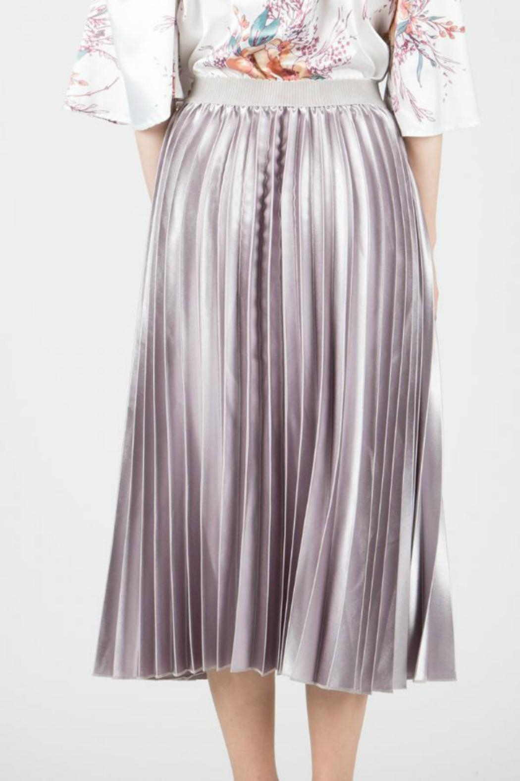 BEULAH STYLE Satin Pleated Skirt - Front Full Image