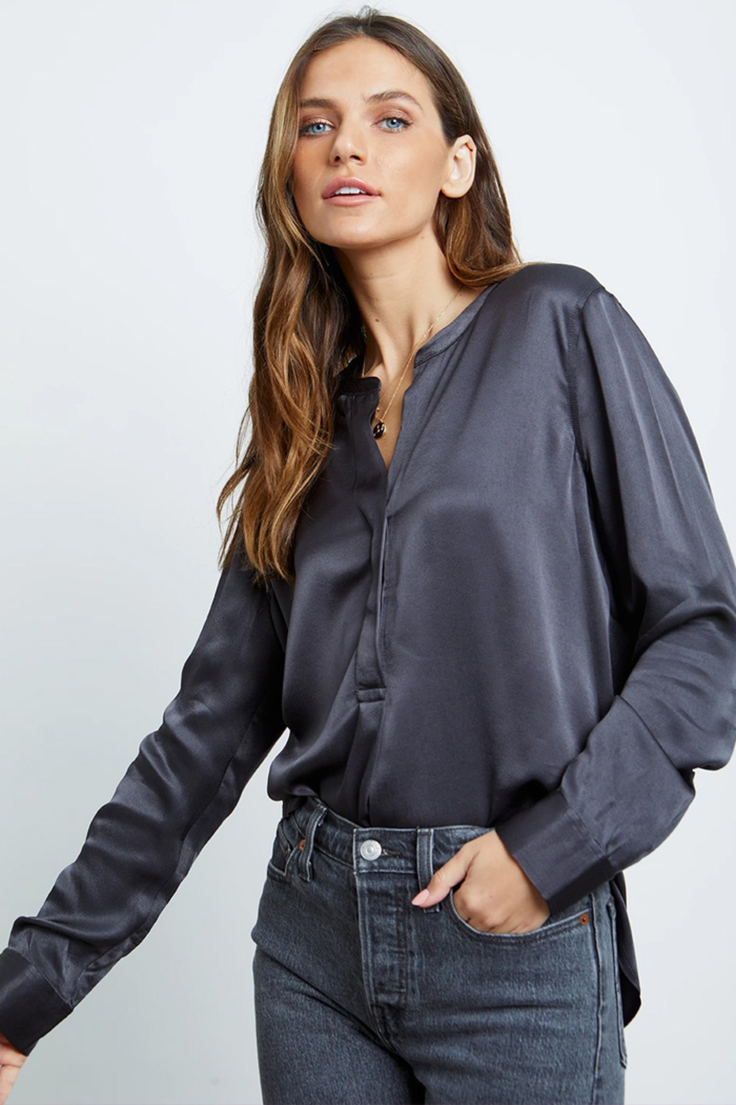 Rails Clothing Satin Popover Blouse - Side Cropped Image