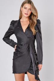 Do + Be  Satin Puff Shoulder Dress - Front cropped