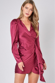 Do + Be  Satin Puff Shoulder Dress - Front full body
