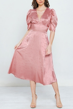 a.calin Satin Puff Sleeve Dress - Product List Image