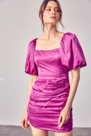 Do + Be  Satin Puff Sleeve Ruched Dress - Front cropped