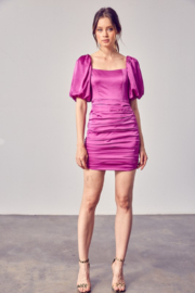 Do + Be  Satin Puff Sleeve Ruched Dress - Other