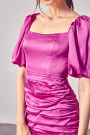 Do + Be  Satin Puff Sleeve Ruched Dress - Back cropped