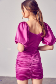 Do + Be  Satin Puff Sleeve Ruched Dress - Side cropped
