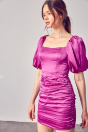 Do + Be  Satin Puff Sleeve Ruched Dress - Front full body