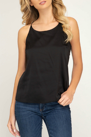 She + Sky Satin racer back cami top - Product Mini Image