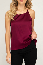 She + Sky Satin racer back cami top - Front cropped