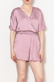 Adrienne Satin Romper With Pockets - Product Mini Image