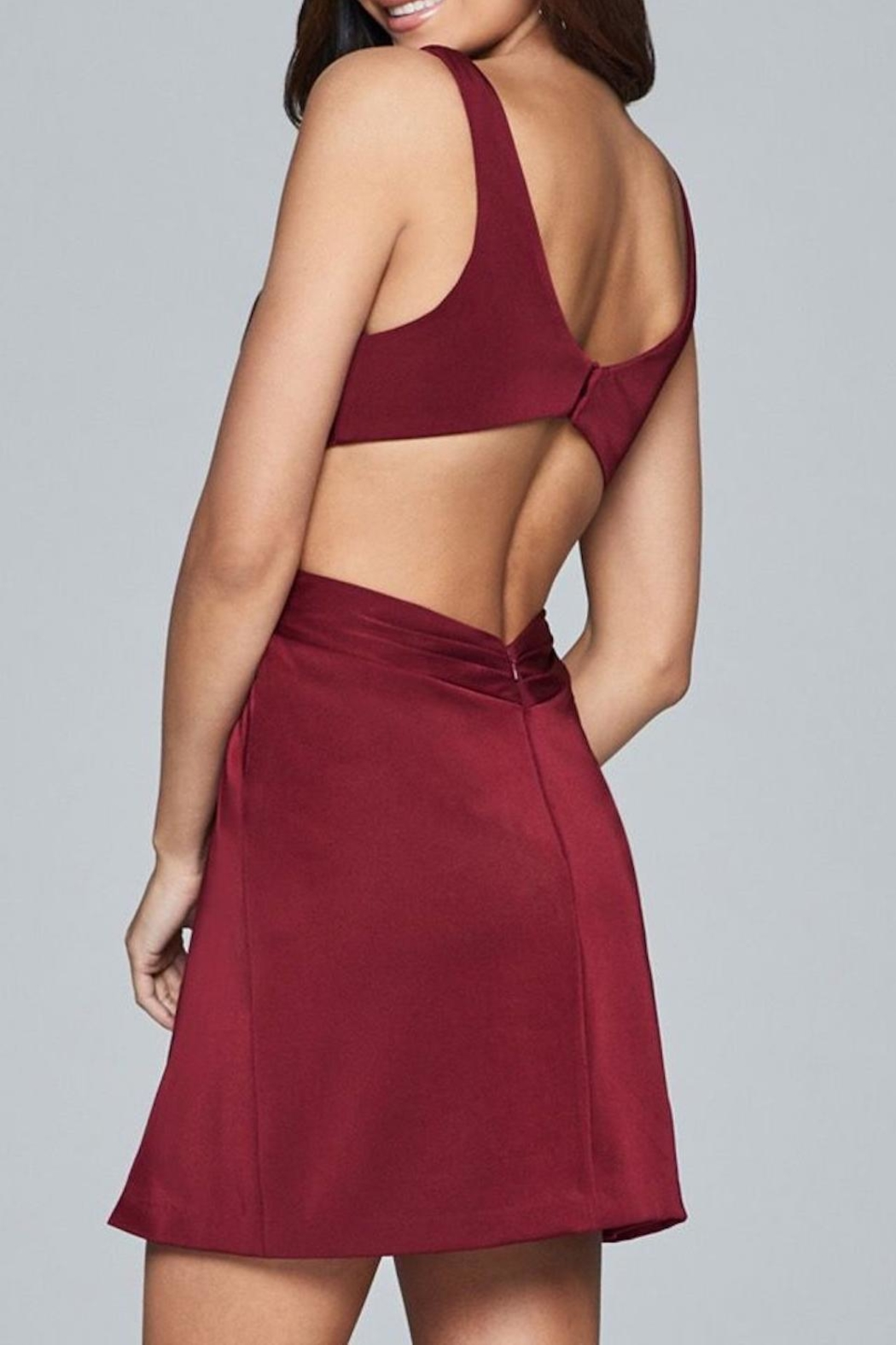 Faviana Satin Rouched Dress - Front Full Image