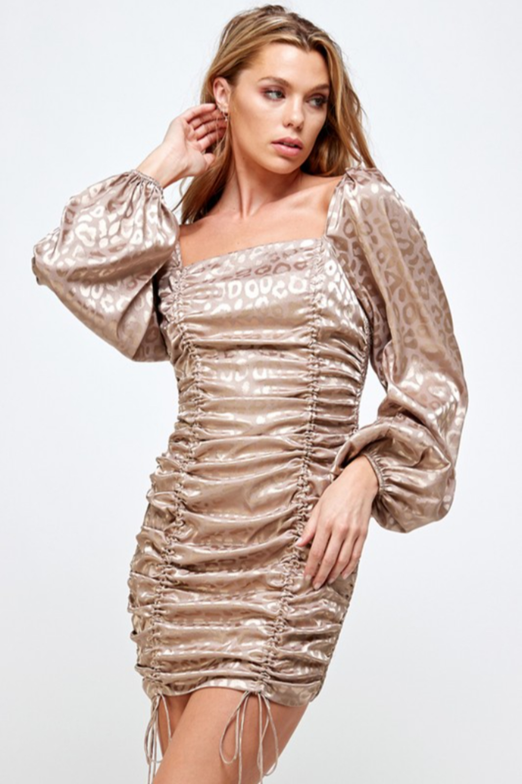 Mable Satin Ruched Front Dress - Main Image