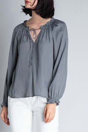 Grade & Gather  SATIN RUFFLE NECK BLOUSE - Product Mini Image