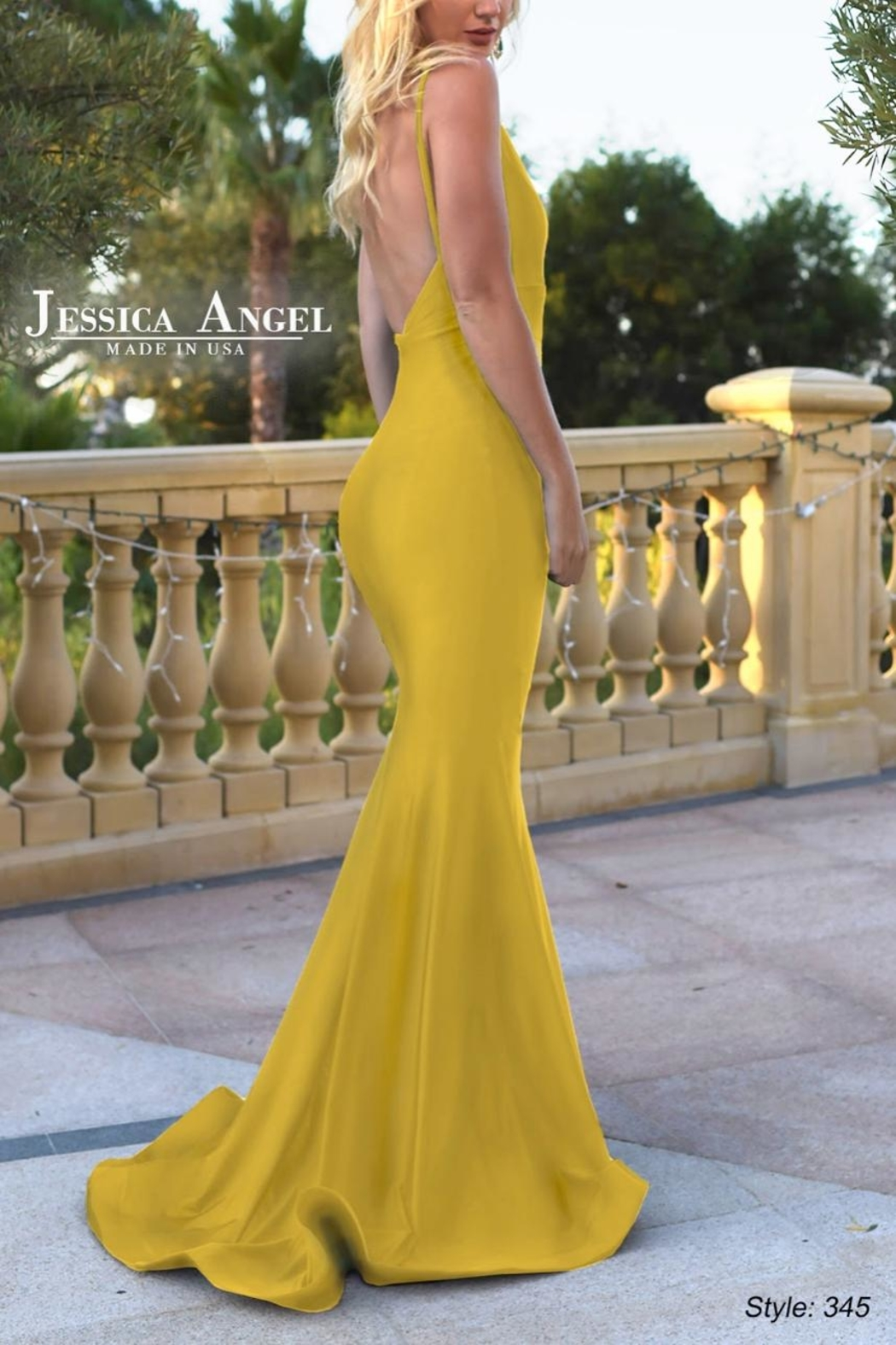 Jessica Angel Satin Sash Gown - Front Full Image