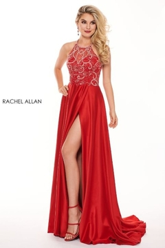 Shoptiques Product: Satin & Sequin Halter A-Line Prom Dress, Red
