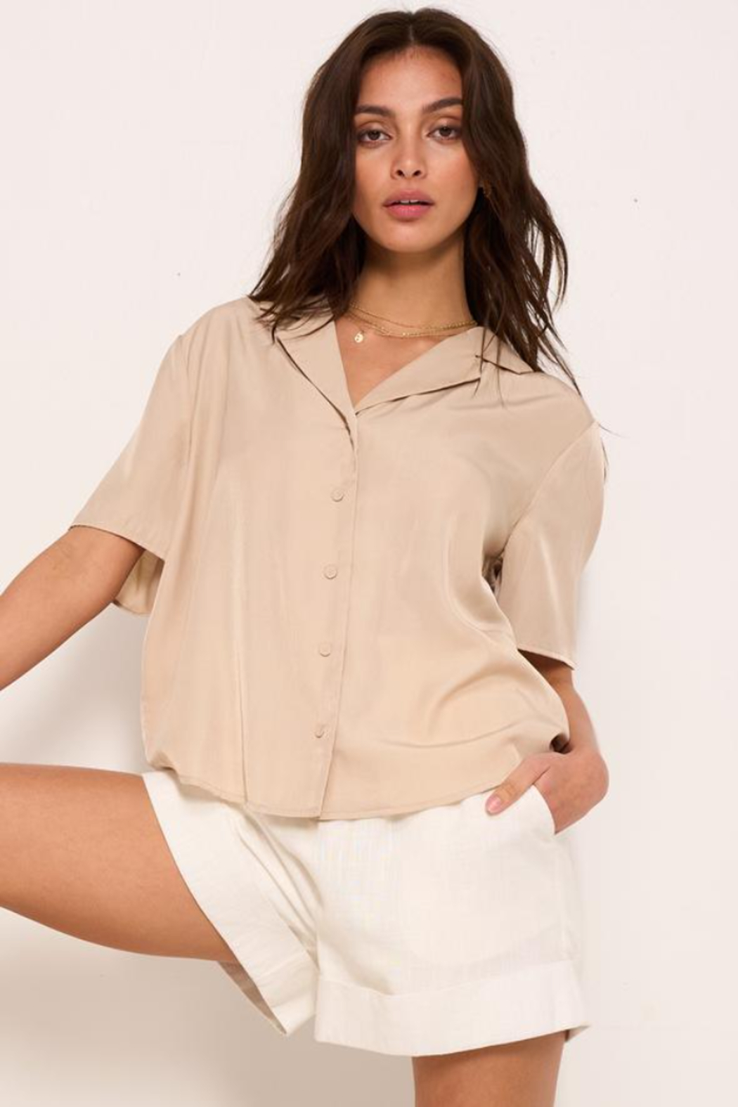 crescent Satin Shirt Collar Blouse - Front Cropped Image