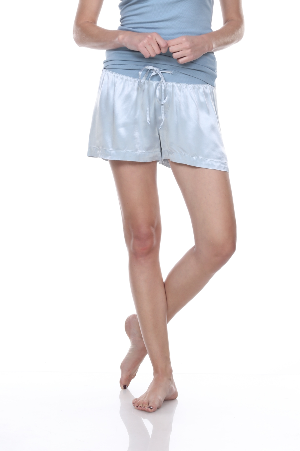 PJHARLOW Satin Short With Rib Knit Waistband And Adjustable Drawstring - Front Cropped Image