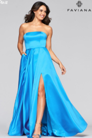 Faviana Satin Strapless Gown - Front full body