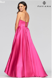 Faviana Satin Strapless Gown - Side cropped