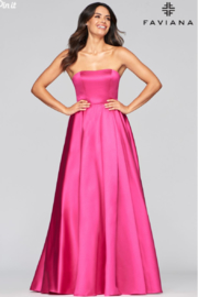 Faviana Satin Strapless Gown - Front cropped