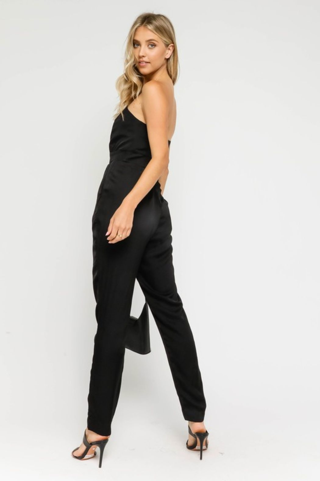 Olivaceous  Satin Sweatheart Jumpsuit - Side Cropped Image