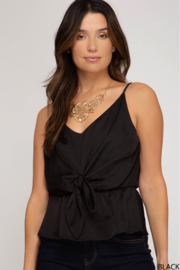 She + Sky Satin Tie Front Top - Product Mini Image
