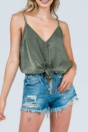 Cozy Casual Satin Tie Top - Front cropped