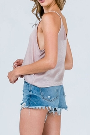 Cozy Casual Satin Tie Top - Front full body