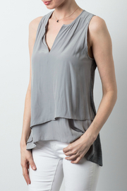 Lola & Sophie Satin Tiered V-Neck Tank - Front cropped