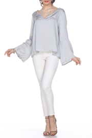 Grey Violet Satin V-neck Blouse - Product Mini Image