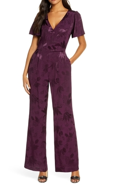 Forest Lily Satin Wide Leg Floral Jumpsuit - Product List Image