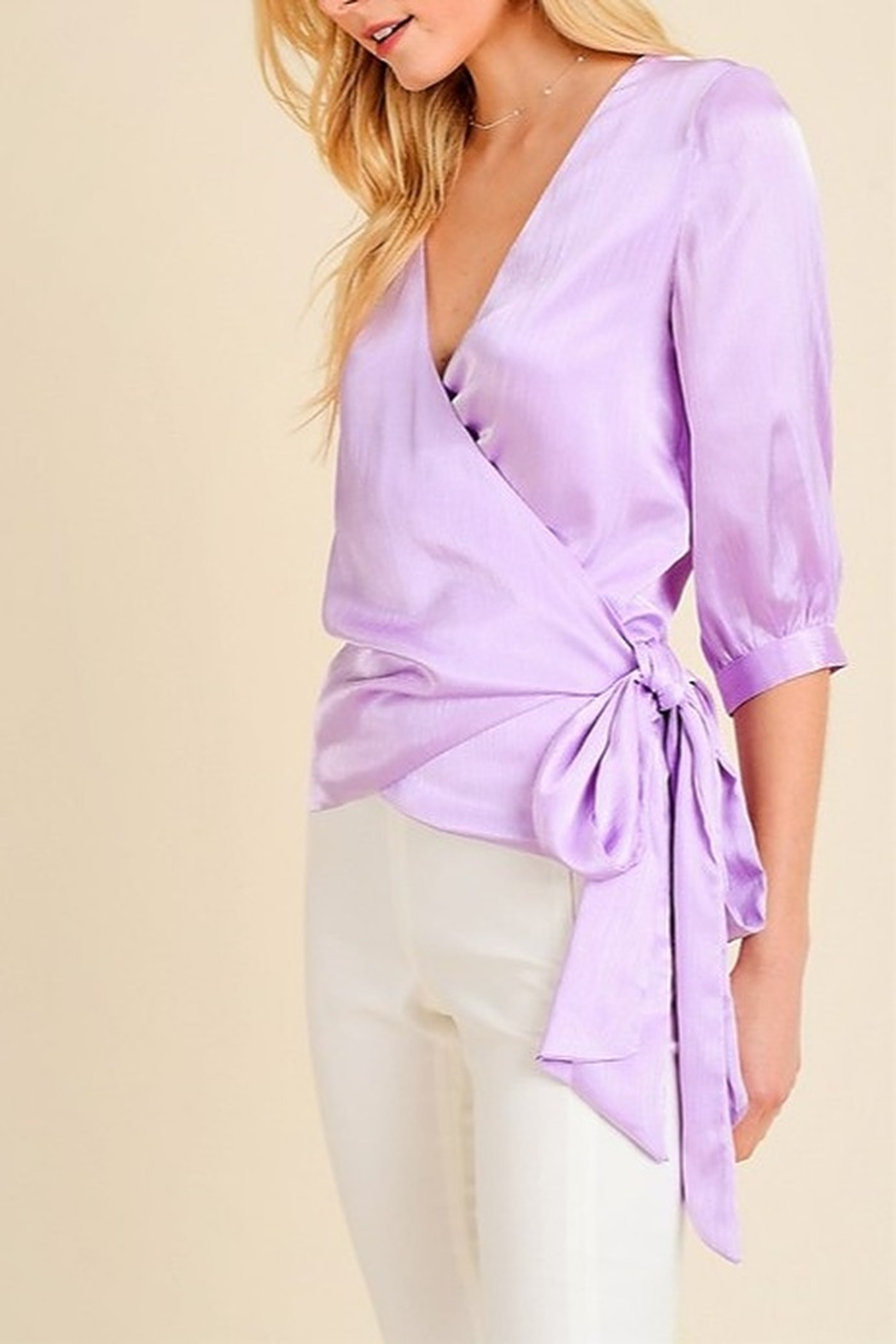 jane+1 Satin Wrap Blouse - Front Cropped Image