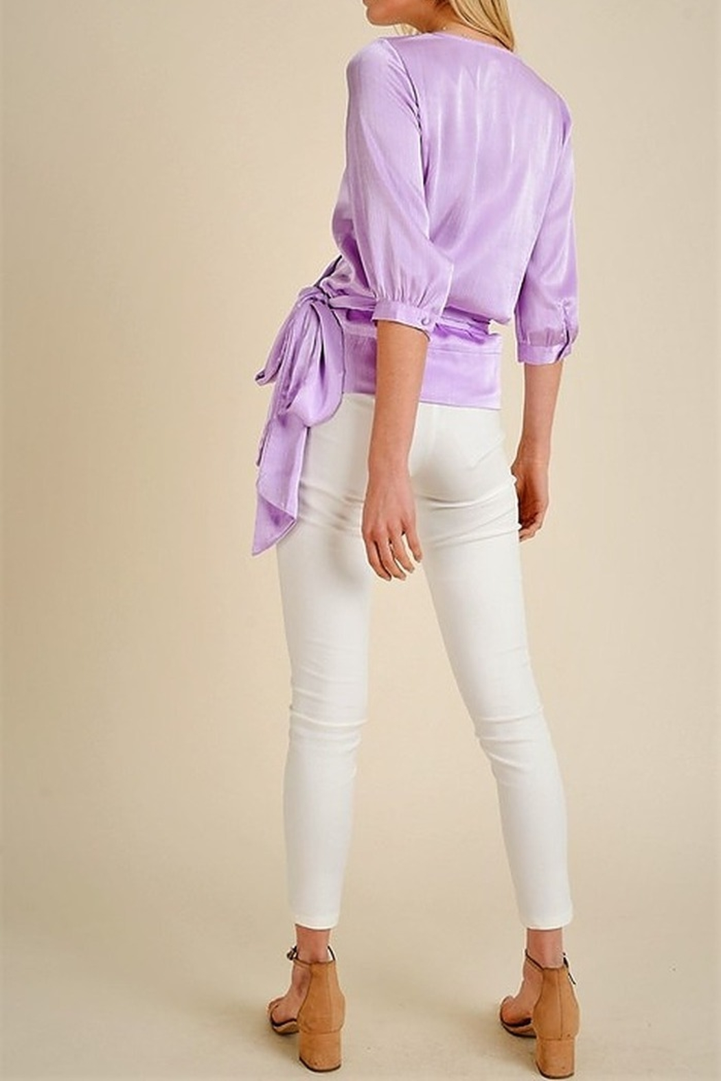 jane+1 Satin Wrap Blouse - Side Cropped Image