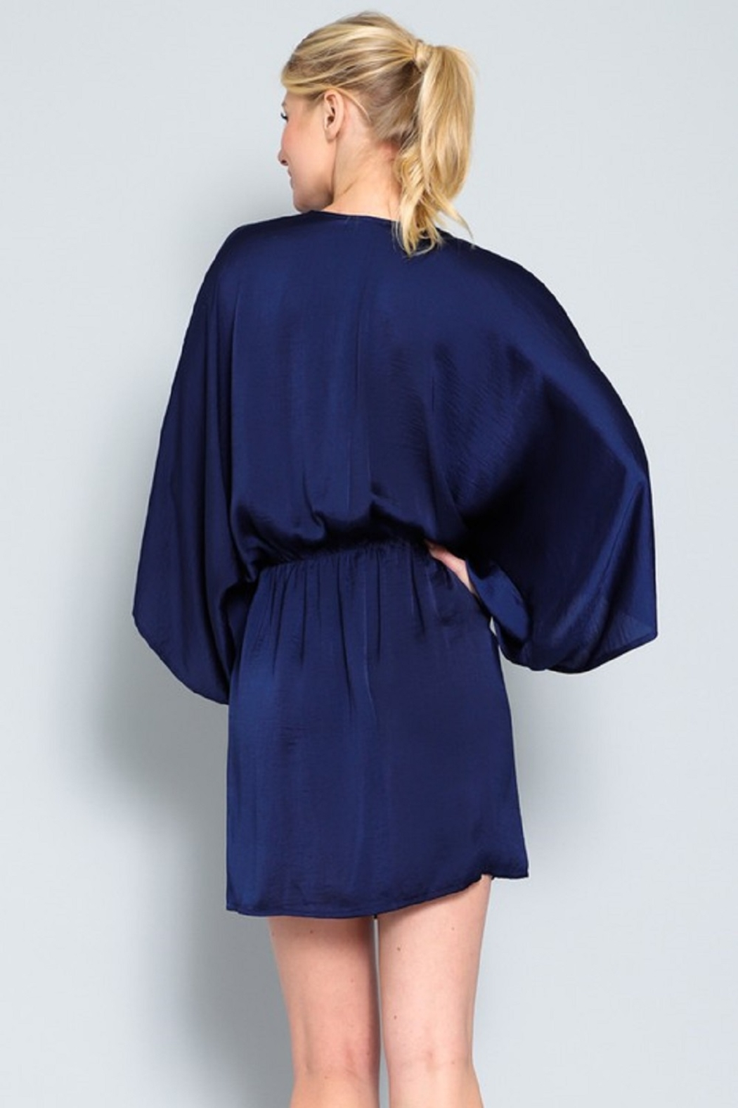 AAKAA Satin Wrap Dress - Back Cropped Image