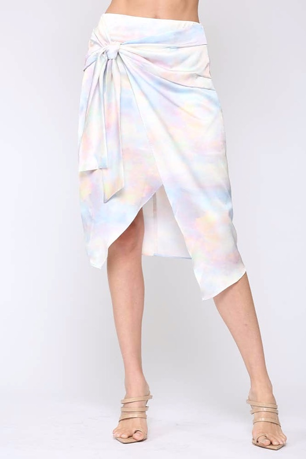 Fate  Satin Wrap Midi-Skirt - Front Cropped Image