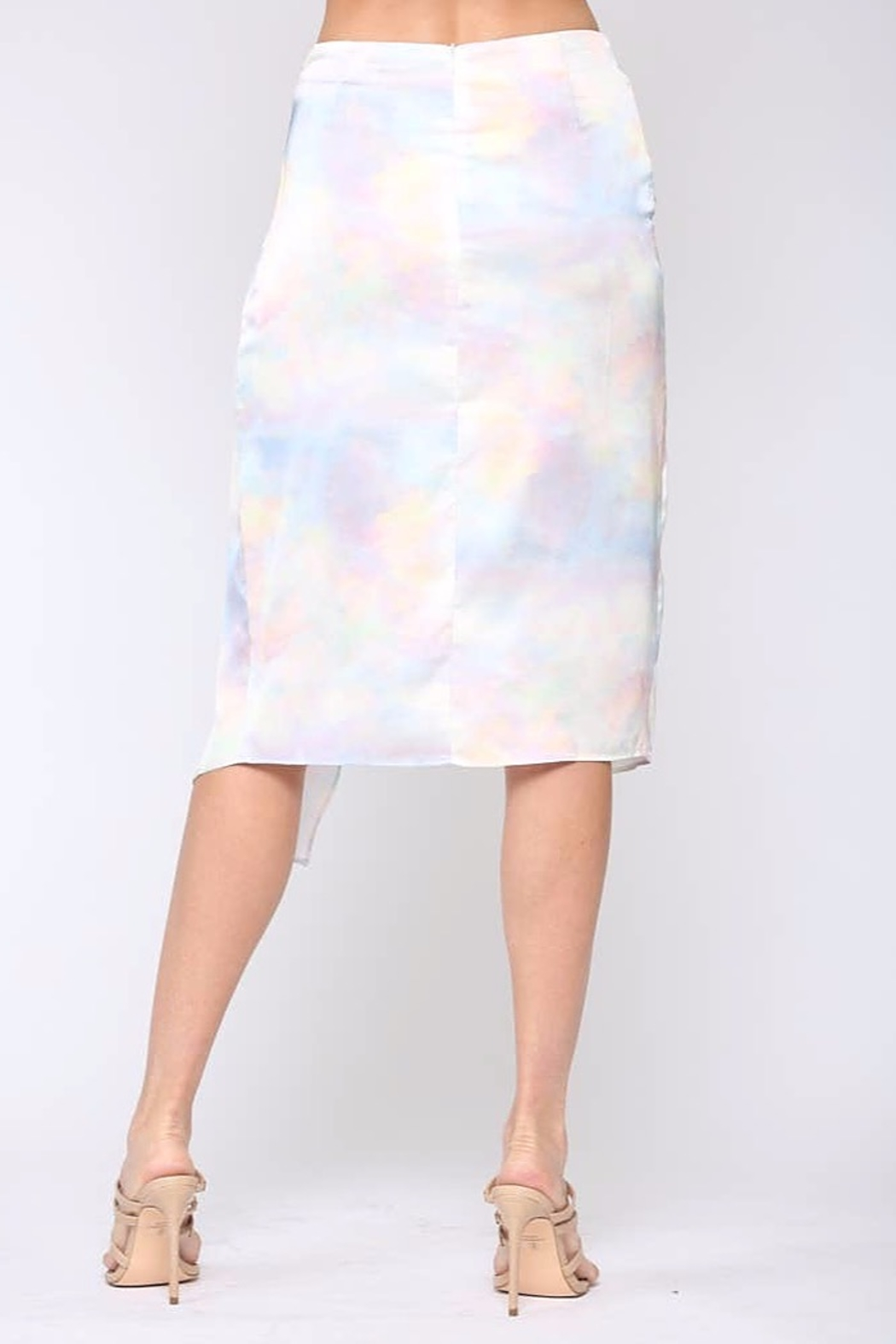 Fate  Satin Wrap Midi-Skirt - Side Cropped Image